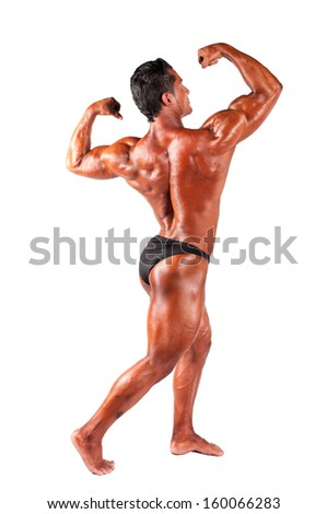 Muscular man on a white background - stock photo