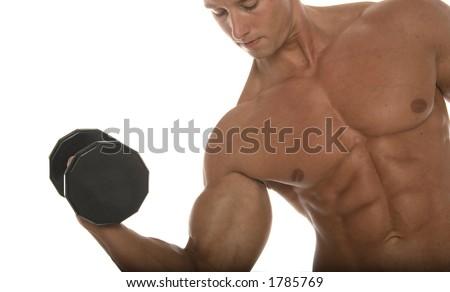 Muscular man pumping iron - stock photo