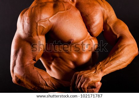 muscular man top body studio shot - stock photo