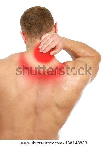 Muscular man with back neck ache, isolated on white background - stock photo