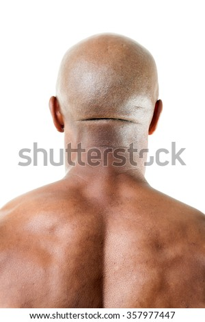 Muscular Mans Back of Head - stock photo