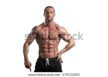 Muscular Mature Man Posing In Studio - Isolated On White Background - stock photo