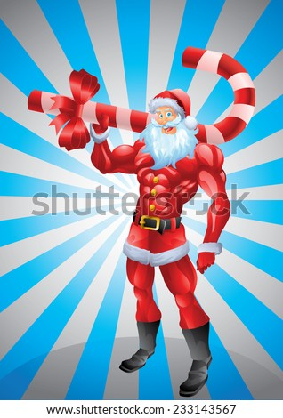 Muscular Santa Claus holding candy cane, sun rays background - stock photo