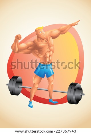 Muscular white guy posing in the gym - stock photo