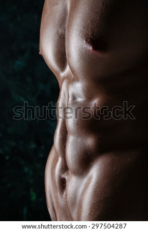 Muscular young athletic sexy man posing shirtless - stock photo