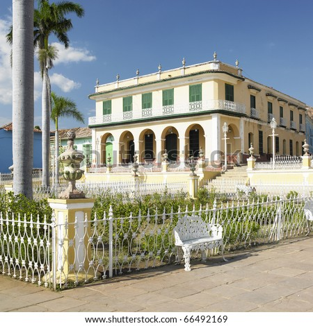 Museo Romantico, Plaza Mayor, Trinidad, Cuba - stock photo
