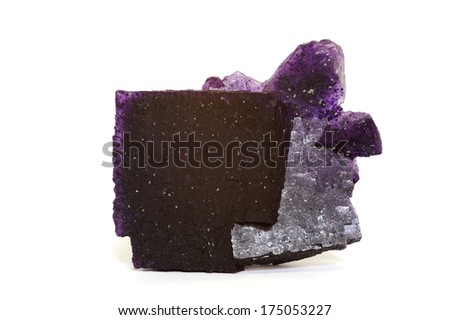MUSEUM MINERAL SERIES: Fluorite from Illinois, USA, showing fine cubic crystal detail. Isolated on white, 7.8cm across. - stock photo