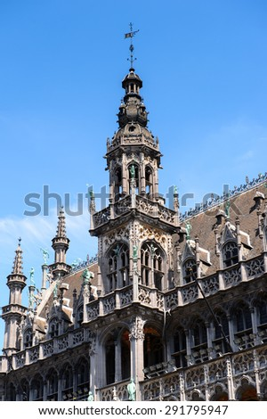 Museum of the City of Brussels on the Grand Place (Grote Markt), the central square of Brussels, the UNESCO World Heritage - stock photo