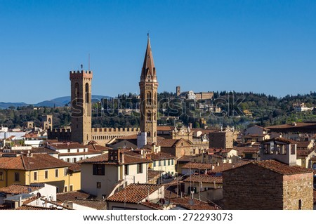 Museum Palazzo del Bargello and church Badia Fiorentina. Aerial view from Giotto's Campanile. Florence, Tuscany, Italy. - stock photo