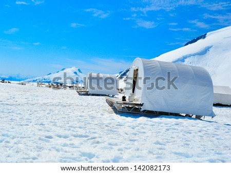 Musher Camp on Top of Mendenhall Glacier in Juneau Ice Field - stock photo