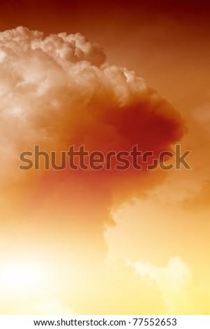 Mushroom cloud fireball from nuclear bomb explosion - stock photo