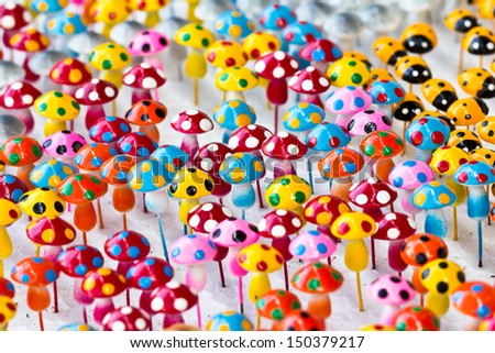 Mushroom colors made ??from clay. - stock photo
