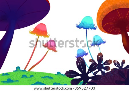 Mushroom Forest on White Background. Realistic Fantastic Cartoon Style Artwork Scene, Wallpaper, Game Story Background, Card Design  - stock photo