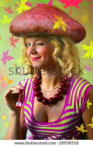 Mushroom girl - stock photo