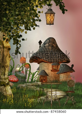 mushroom house in the garden with path - stock photo