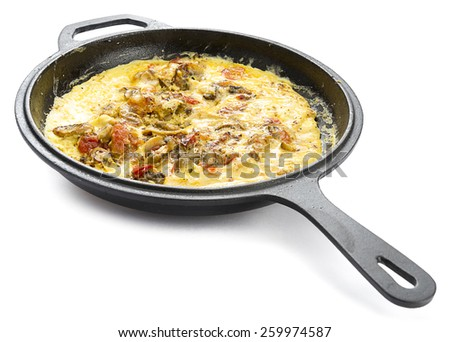 Mushroom Omlet in Iron Pan - stock photo