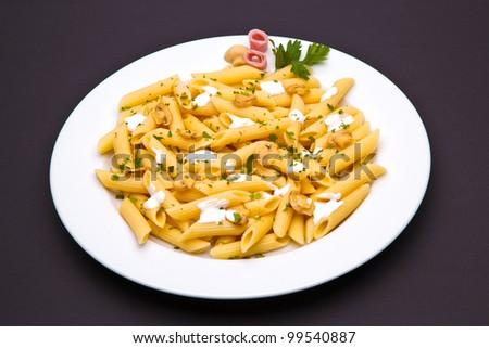 mushroom pasta dish - stock photo