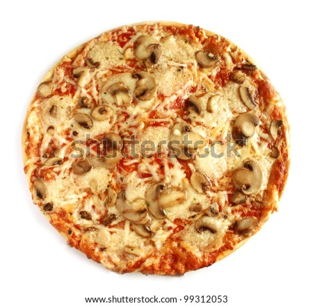 Mushroom pizza vegetarian on white background isolated - stock photo