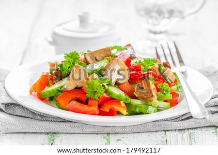 Mushroom salad - stock photo