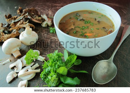 Mushroom soup in white bowl with parsley - stock photo