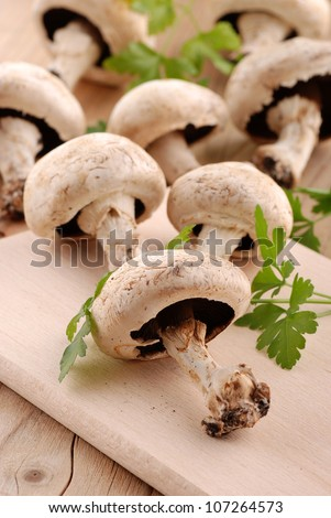 mushrooms and parsley on chopping board - stock photo