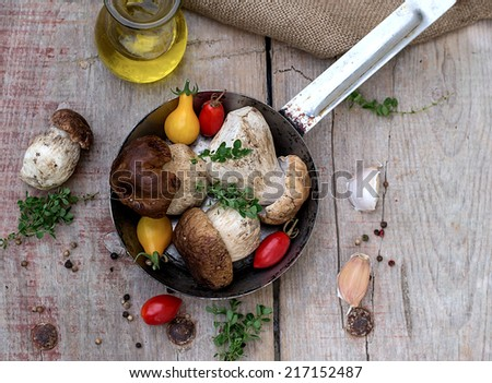 Mushrooms ceps with herbs with tomatoes in a skillet - stock photo