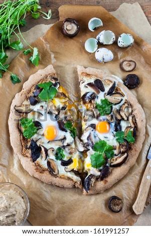 Mushrooms&Eggs Pizza - stock photo