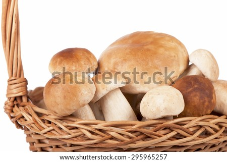 Mushrooms in a wicker basket - stock photo