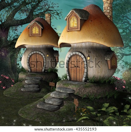 Mushrooms little houses - 3D illustration - stock photo