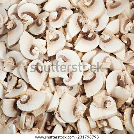 Mushrooms sliced for frying. - stock photo