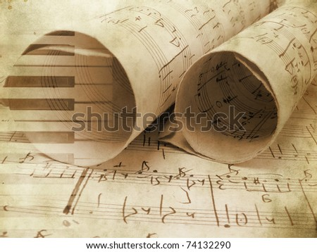 Music background in grunge style with piano keys. Old art documents concept. - stock photo