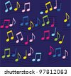 Music blue note pattern - stock photo