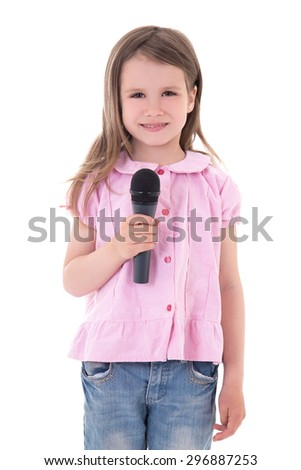 music concept - cute little girl with microphone isolated on white background - stock photo