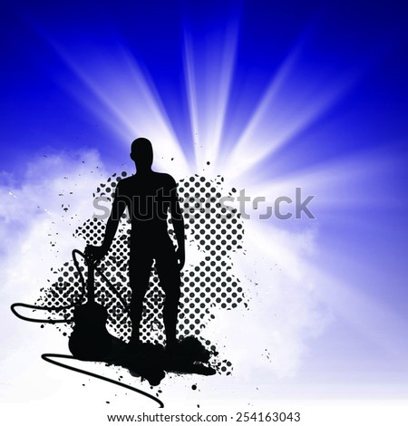 Music concert or guitar shop flyer background with empty space - stock photo