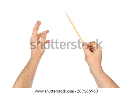Music conductor hands isolated on white background - stock photo