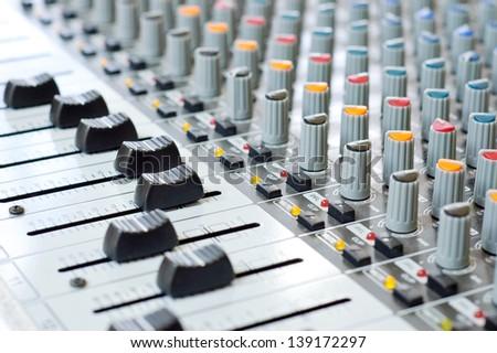 Music control panel device - stock photo
