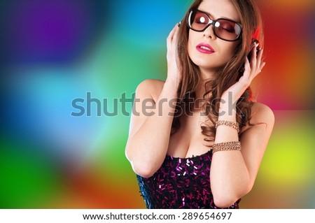 Music, dj, earphones. - stock photo