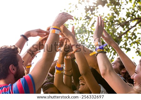 Music fans with their hands up on a sunny day - stock photo