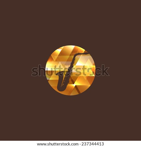 music illustration with saxophone icon. logo design - stock photo