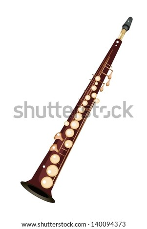 Music Instrument, An Illustration Brown Color of Golden Vintage Soprano Saxophone Isolated on White Background  - stock photo