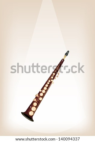 Music Instrument, An Illustration Brown Color of Golden Vintage Soprano Saxophone on Brown Stage Background with Copy Space for Text Decorated  - stock photo