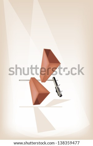 Music Instrument, Illustration of Two Musical Metal Cowbells for Musical Concert on Vintage Brown Stage Background with Copy Space for Text Decorated   - stock photo