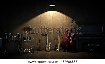 music instruments. 3D Rendering - stock photo
