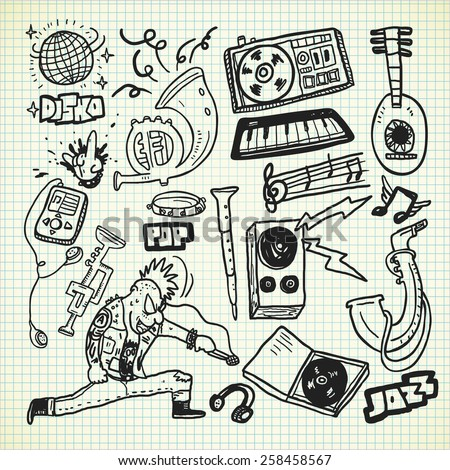 music instruments set in doodle style - stock photo