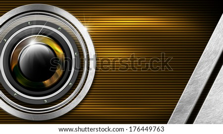 Music Metal and Orange Business Card / Orange and black corrugated background with woofer, metal circle and stripes - stock photo