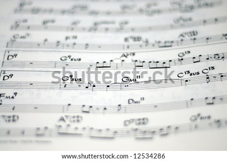 music notation (very shallow depth of field) - stock photo