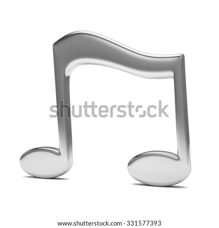 music note 3D, on white - stock photo
