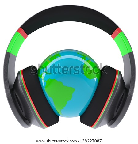 Music of the world. Headphones on the planet. Isolated render on a white background - stock photo