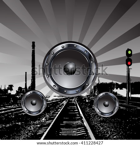 music party background. speakers on the railroad - stock photo