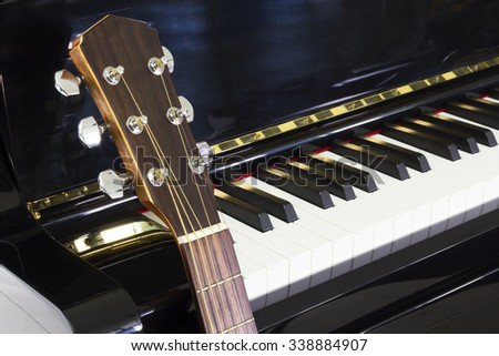 Music,Piano and Acoustic Guitar - stock photo